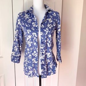 Blue and White Floral Button Down Blouse